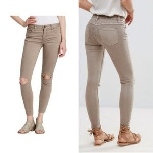 Free People Tan Busted Mid Rise Skinny Jeans